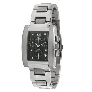 Gino Franco Men's Rectangular Black Dial Chronograph Watch