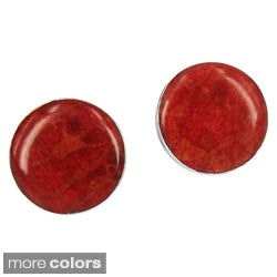 Chic Natural Stone Centered .925 Silver Post Earrings (Thailand)