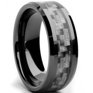 Oliveti Black Ceramic Men's Grey Carbon Fiber Inlay Ring (8 mm)