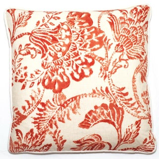 Red Floral 18-inch Throw Pillow