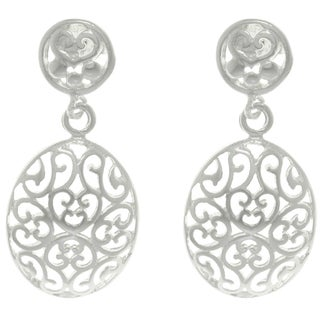 CGC Sterling Silver Scroll Oval Drop Earrings