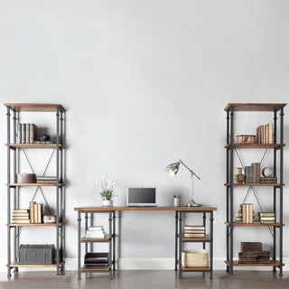 Myra Vintage Industrial Modern Rustic 3-piece Desk Bookcase Set