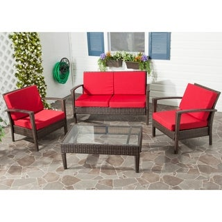 Outdoor Living Brown PE Wicker Red Cushion Glass Top 4-piece Patio Set