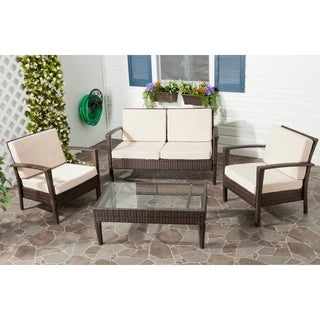 Outdoor Living Brown PE Wicker Beige Cushion Glass Top 4-piece Patio Set