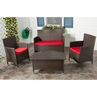 Outdoor Living Brown PE Wicker Red Cushion 4-piece Patio Set