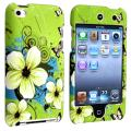 Green Flower Snap-on Rubber Case for Apple iPod Touch 4th Generation