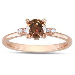 Miadora 18k Pink Gold 5/8ct TDW Brown and White Diamond Ring (G-H, VS1-VS2)