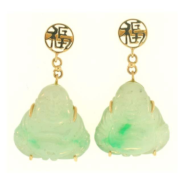 Mason Kay 14k Yellow Gold Carved Green Jadeite Buddha Dangle Earring