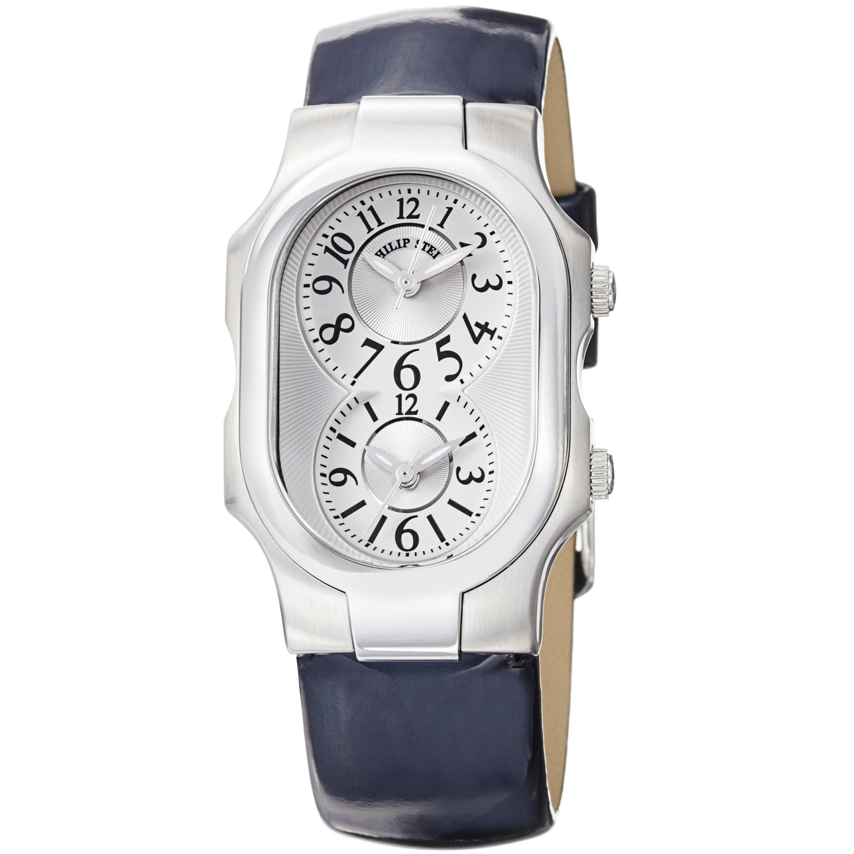 Philip Stein Women's 'Signature' Blue Patent Leather Strap Watch