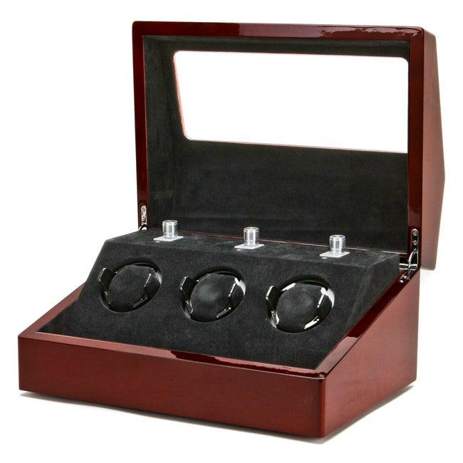 Collectors Multifunction Mahogany Three-slot Mechanical Watch Winder