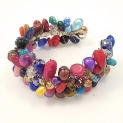 Vibrant Glow Multicolor Gemstone Handmade Cuff (Thailand)