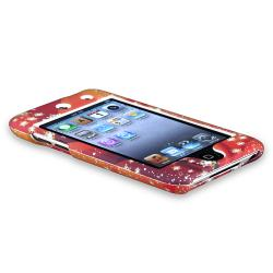 Orange/ White Snow Snap-on Rubber Case for Apple iPod Touch 4th Gen