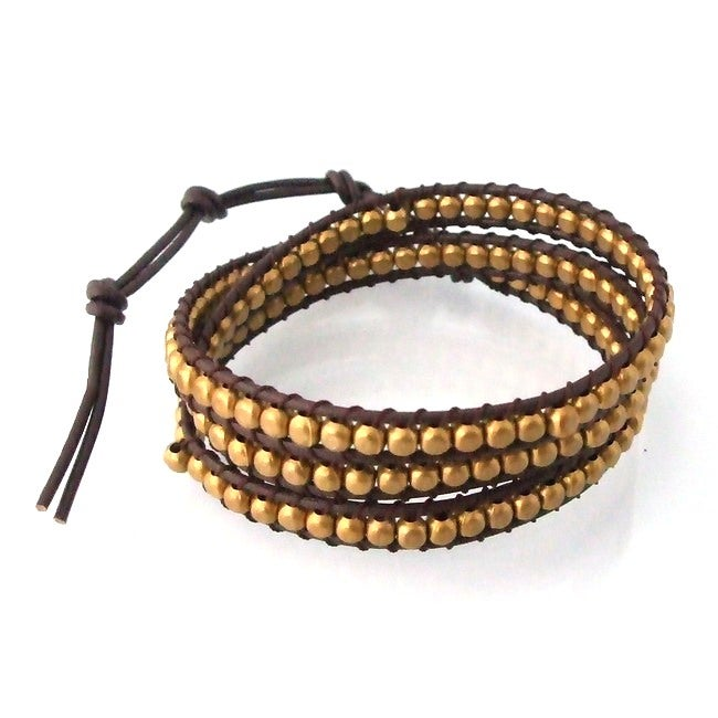 'Golden Shine' Brass Beads Leather Wrap Bracelet (Thailand)