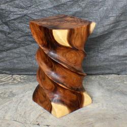 Monkey Pod Wood Triple Twist Stool (Thailand)
