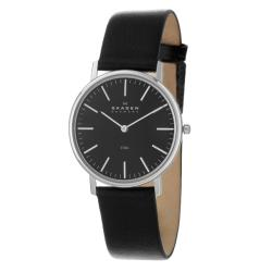 Skagen Men's 'Leather' Stainless Steel Black Leather Watch