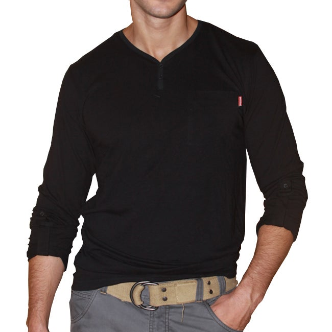 191 Unlimited Men's Black Long-sleeve Henley Tee