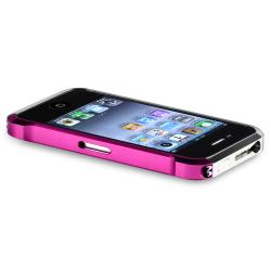 Pink/ Silver Metal Bumper for Apple iPhone 4/ 4S