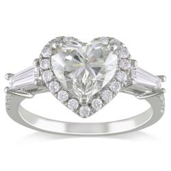 Miadora 14k White Gold 2 1/4ct TDW Certified Heart-cut Diamond Ring (I, VS2)