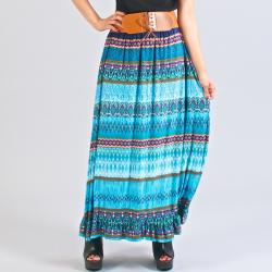 Meetu Magic Mixed Print Turquoise Maxi Skirt | Overstock.com