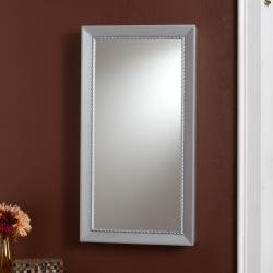 Serenity Wall-mount Jewelry Storage Mirror with Silver Finish
