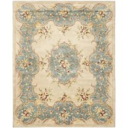 Handmade Ivory/ Light Blue Hand-spun Wool Rug (8&#39; x 10&#39;)
