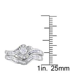 Miadora 14k White Gold 1/2 CT TDW Diamond Bridal Ring Set