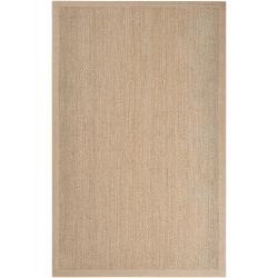 Hand-woven Tan Vigilant Natural Fiber Seagrass Cotton Border Rug (8' x 10')