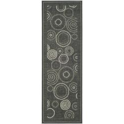 Safavieh Poolside Black/ Sand Indoor Outdoor Rug (2'4 x 9'11)