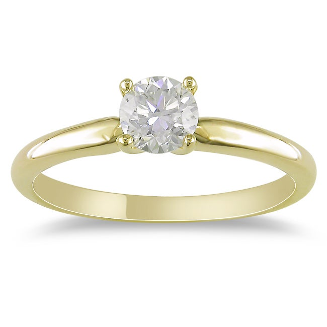 Miadora 14k Yellow Gold 1/2ct TDW Diamond Solitaire Engagement Ring (H-I, I2-I3)