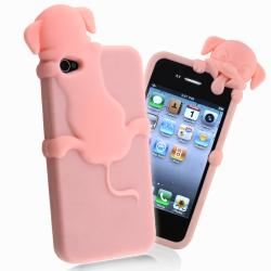 Light Pink Peeking Dog Silicone Skin Case for Apple iPhone 4/ 4S