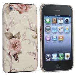 Embroidered White/ Pink Flower Leather Case for Apple iPhone 3G/ 3GS
