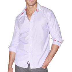 191 Unlimited Men's Purple Micro Stripe Woven Shirt