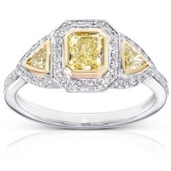 14k Gold 1ct TDW Certified Yellow and White Diamond Ring (H-I, SI2-I1)