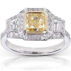 14k Gold 2 1/4ct TDW Certified Yellow and White Diamond Ring (G-H, VS1-VS2)