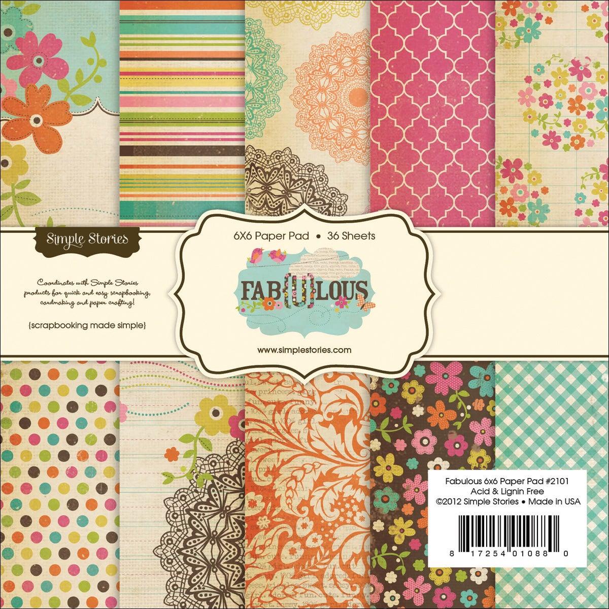 Fab-U-Lous Paper Pad 6X6in 36/Sheets