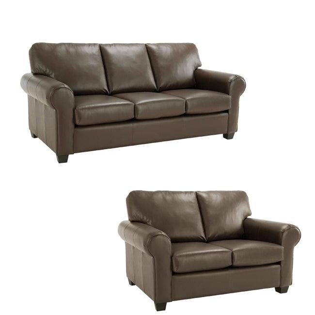 Monroe Brown Italian Leather Sofa/ Loveseat Set