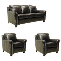Lancaster Dark Brown Italian Leather Sofa/ Chairs Set