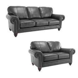 Cary Black Italian Leather Sofa/ Loveseat Set