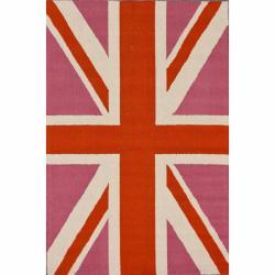 nuLOOM Handmade Kids United Kingdom Flag Wool Rug (6' x 9')