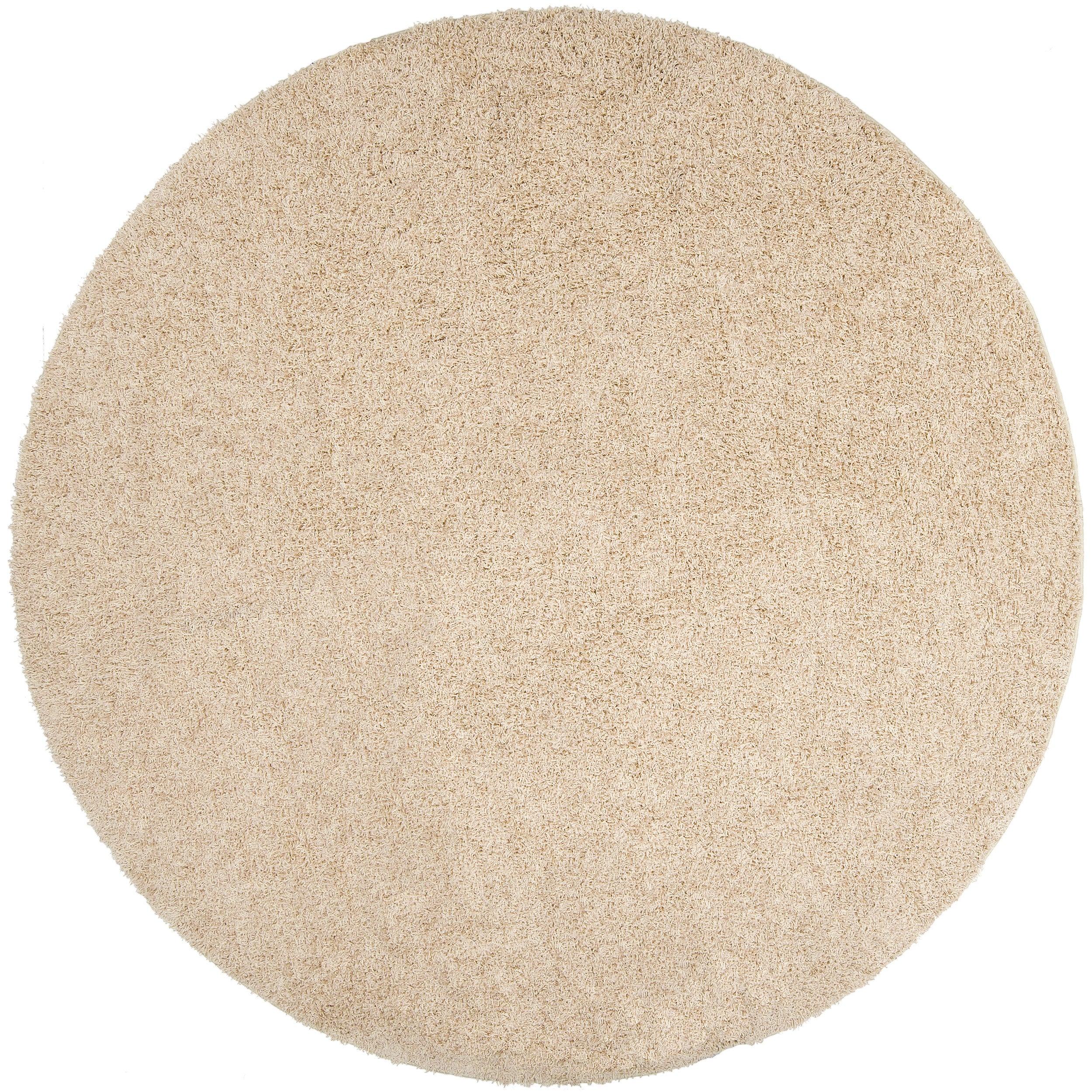 Woven Beige Calucy Plush Shag (4' Round)