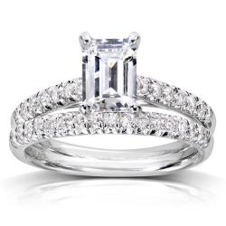 14k White Gold 1 1/3ct TDW Diamond Bridal Ring Set (H-I, SI1-SI2)