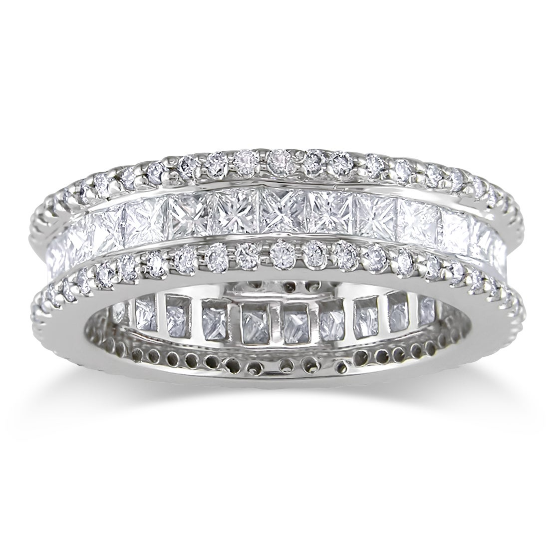 Miadora 18k White Gold 2-3/8ct TDW Diamond Eternity Ring (G-H) (VS1-VS2) (Size 8)