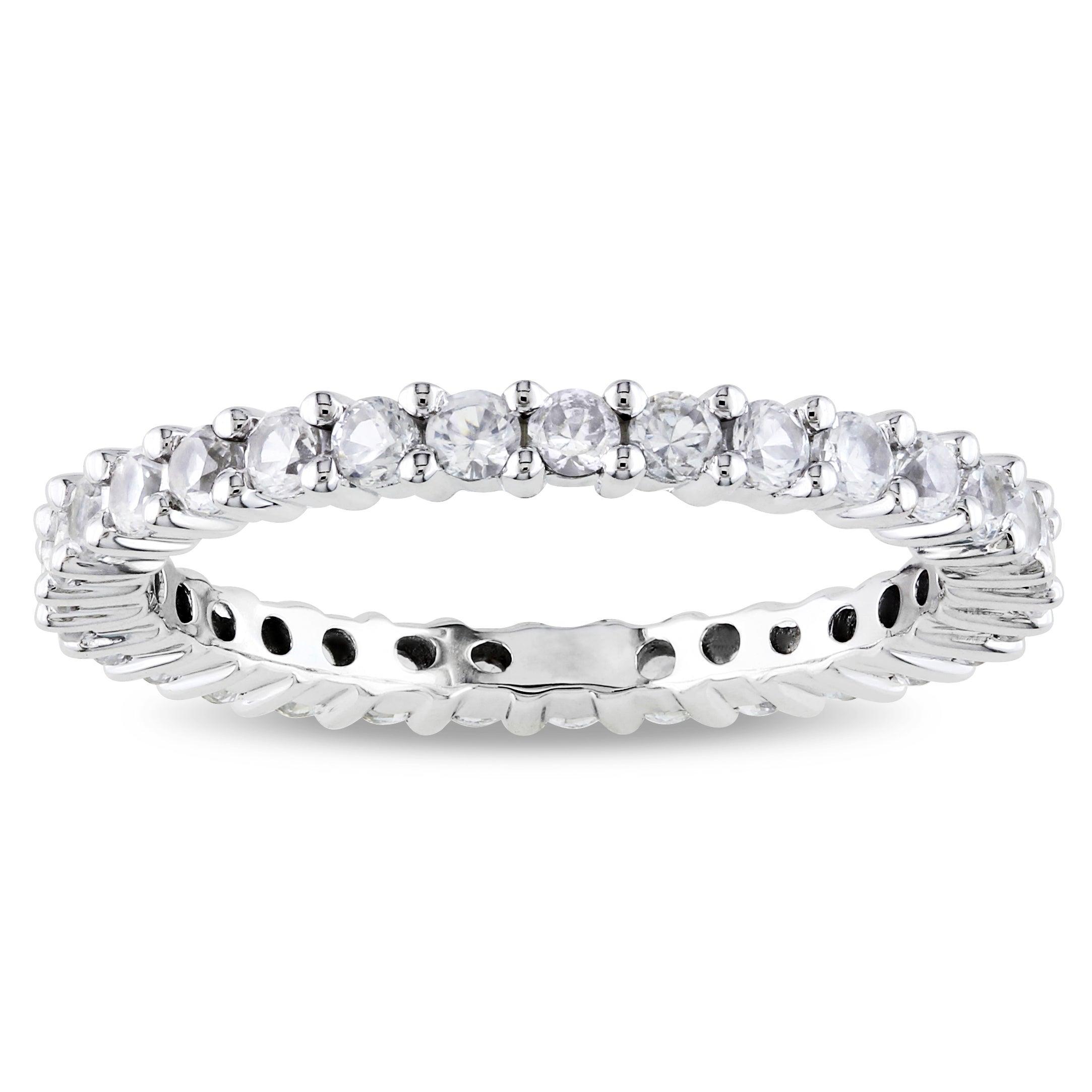 Miadora 10k White Gold 1-1/4ct TGW Created White Sapphire Eternity Ring