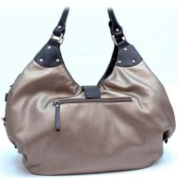 Dasein Large Faux-leather Two-toned Zip-top Closure Hobo Tote Bag