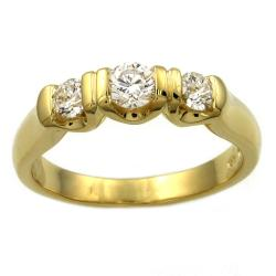 Beverly Hills Charm  14k Yellow Gold 1/2 ct. TDW 3-Stone Diamond Ring (H-I, I1)