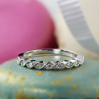 Auriya 14k Gold 1/6ct TDW Diamond Milligrain Ring (H-I, SI1-SI2)