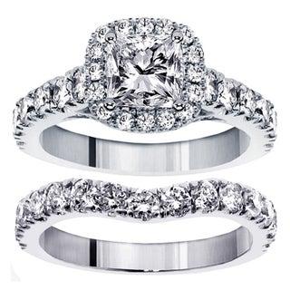 14k White Gold 3 1/3ct TDW Clarity Enhanced Diamond Halo Bridal Ring Set (F-G, SI1-SI2)