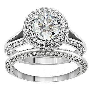 18k/14k Gold 2 1/3ct TDW Diamond Halo Bridal Ring Set (F-G, SI1-SI2)