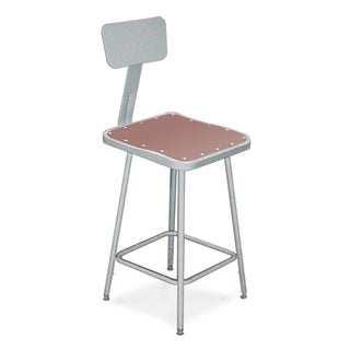 Square Stool with Masonite Seat and Metal Backrest