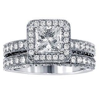 3 1/2ct TDW Halo Clarity Enhanced Diamond Bridal Ring Set (F-G, SI1-SI2)